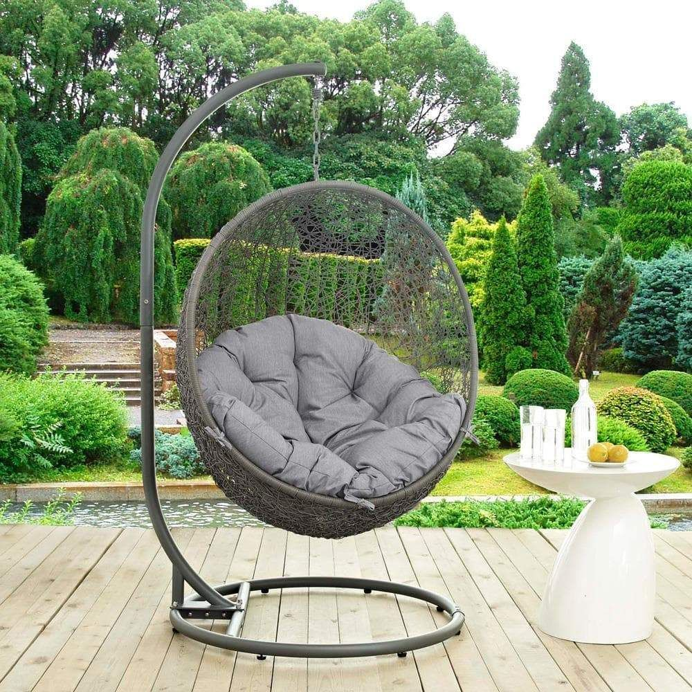 Modway Hide Outdoor Patio Swing Chair With Stand In 2020 Swinging Chair Patio Swing Chair Outdoor Patio Swing