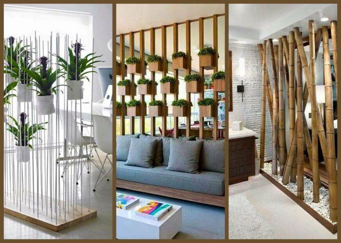 1001 ideas de separadores de ambientes decorativos y for Idea decorativa sala de estar pequeno espacio