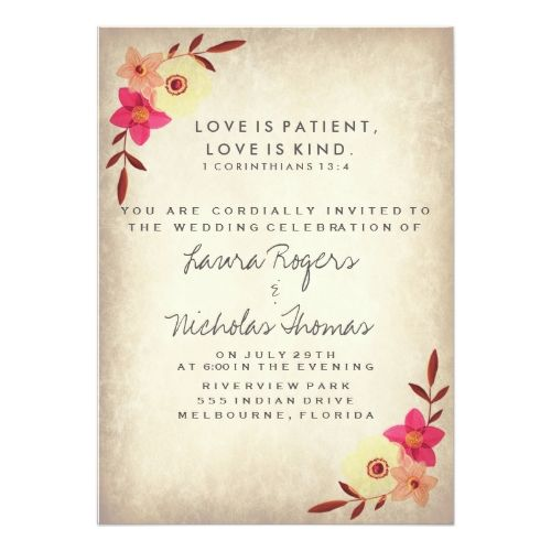 Christian Bible Verse Rustic Country Floral Card Weddings - fresh invitation card quotes for freshers party