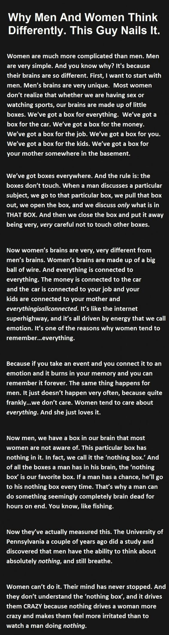 Difference of Men and Women Explained Perfectly