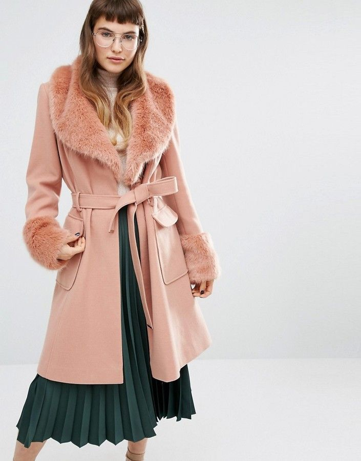 e63b41429645 Miss Selfridge Faux Fur Cuff Fit & Flare Coat | fashion | Coat, Fur ...