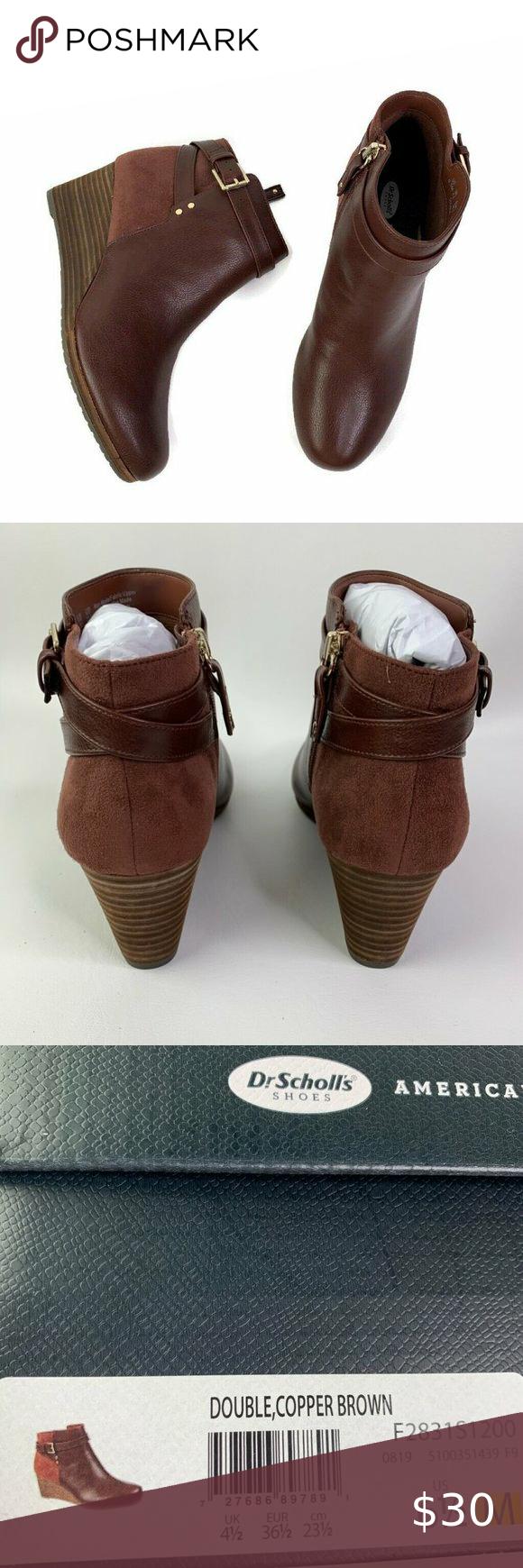Dr Scholls Women Ankle Booties Double Copper Brown Wedge Heel