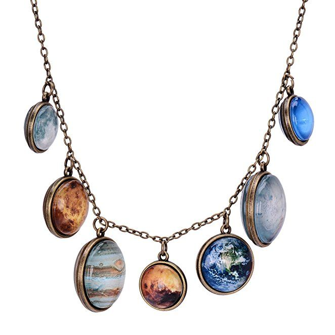 Full Moon Necklace Double-sided Planet Necklace Handmade Sun Moon Necklace Statement Space Necklace