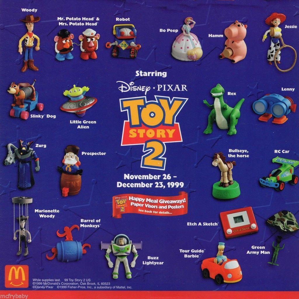 1999 McDonald's Toy story meal toys. I had Woody, Bo Peep, Little green  alien, Rex, Zurg, Barrel of Monkeys and Buzz.   Mcdonalds toys, Happy meal  toys, Happy meal