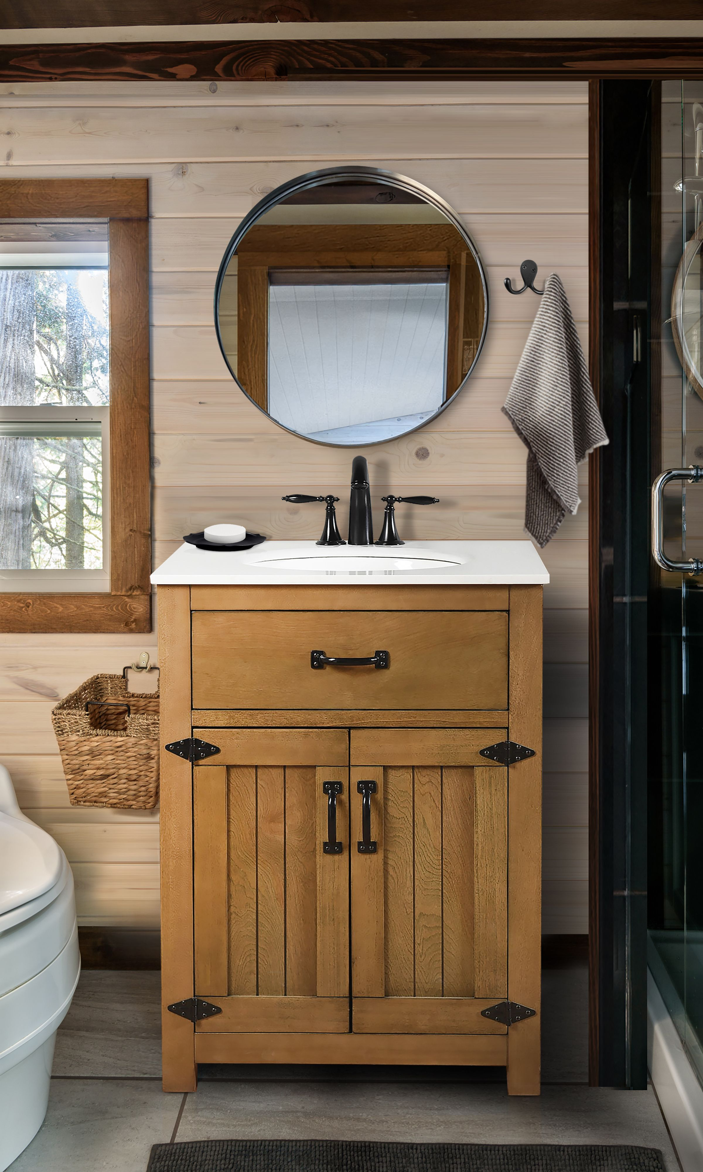 Rustic Farmhouse Bathroom Vanity With Country Western Style Black