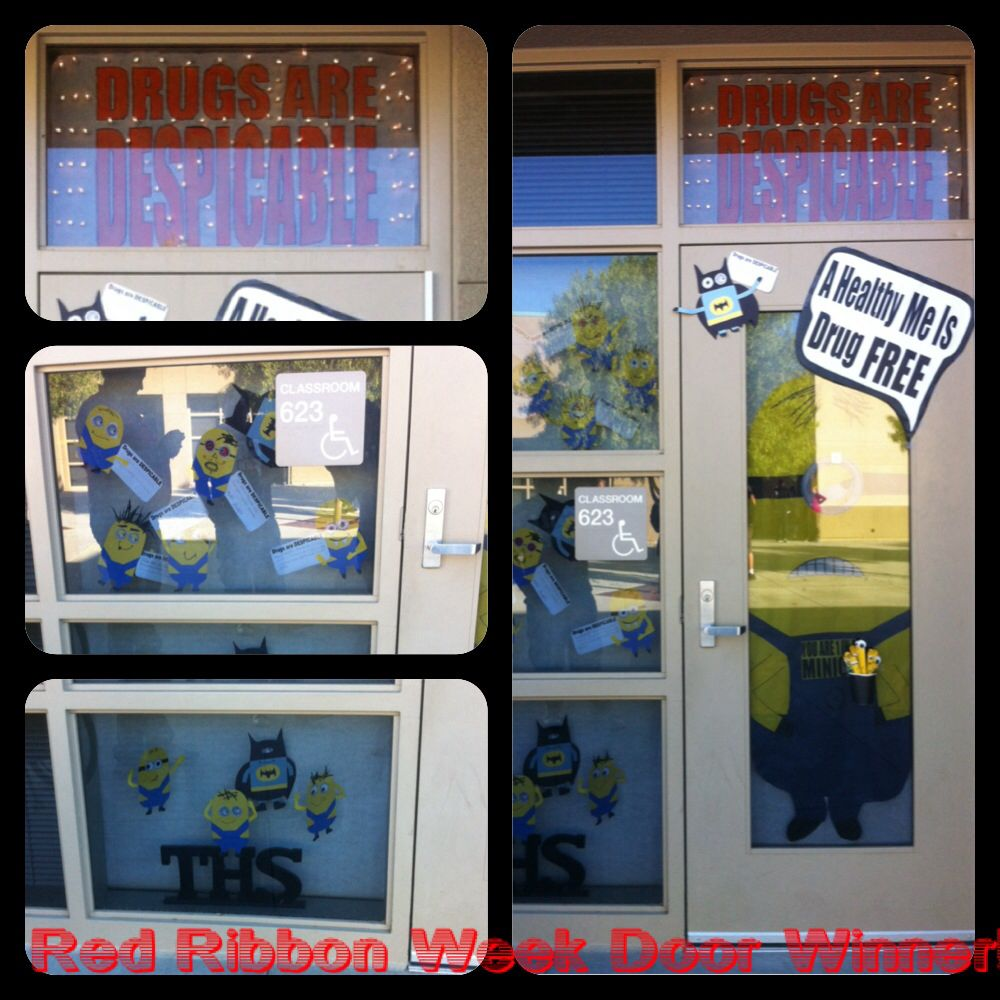Red ribbon week door decoration. Despicable me. Drugs are ...