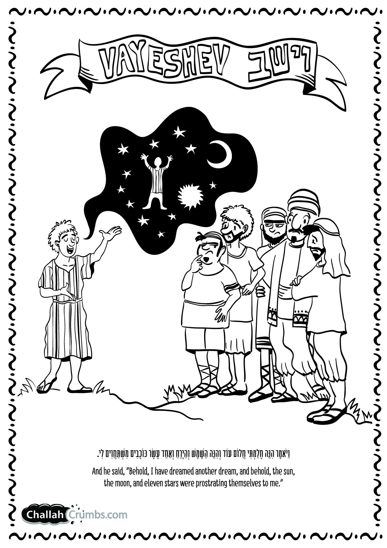 In This Coloring Page Joseph Tells His Jealous Brothers About Dreams