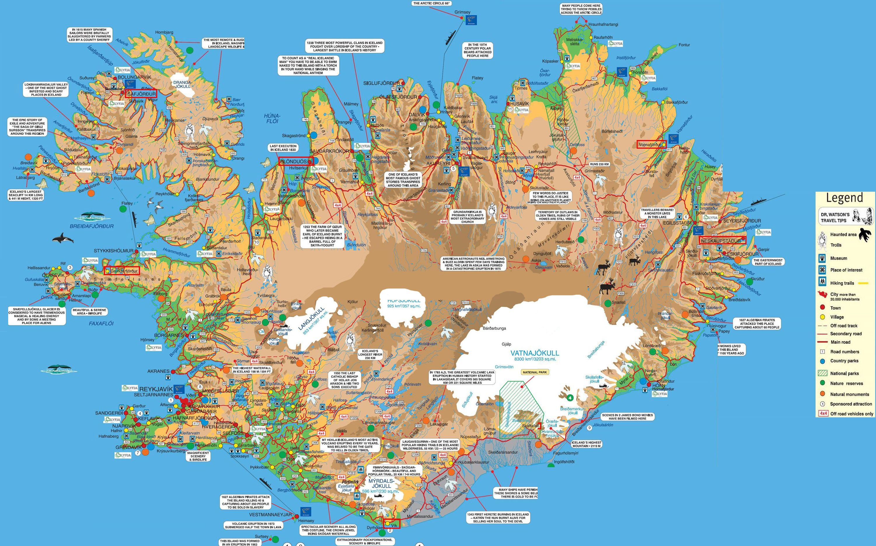detailed map listing most popular and interesting destinations in iceland. detailed map listing most popular and interesting destinations in