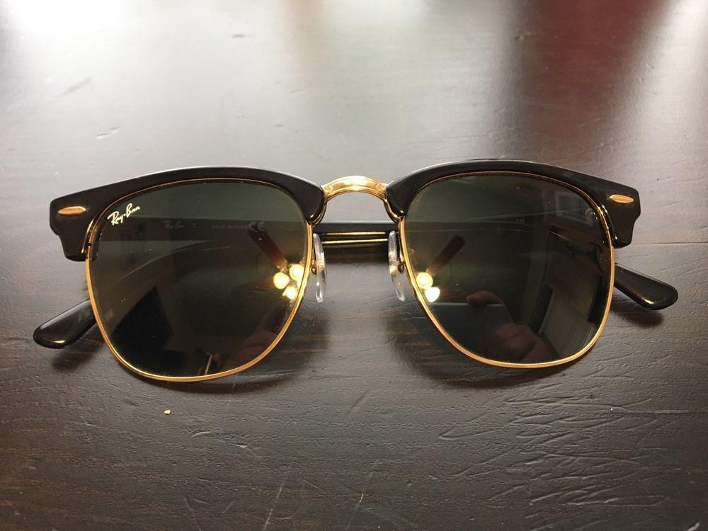 36e8a702093de Ray Ban Clubmaster Sunglasses RB 3016 W0365 Black gold Frame  fashion   clothing