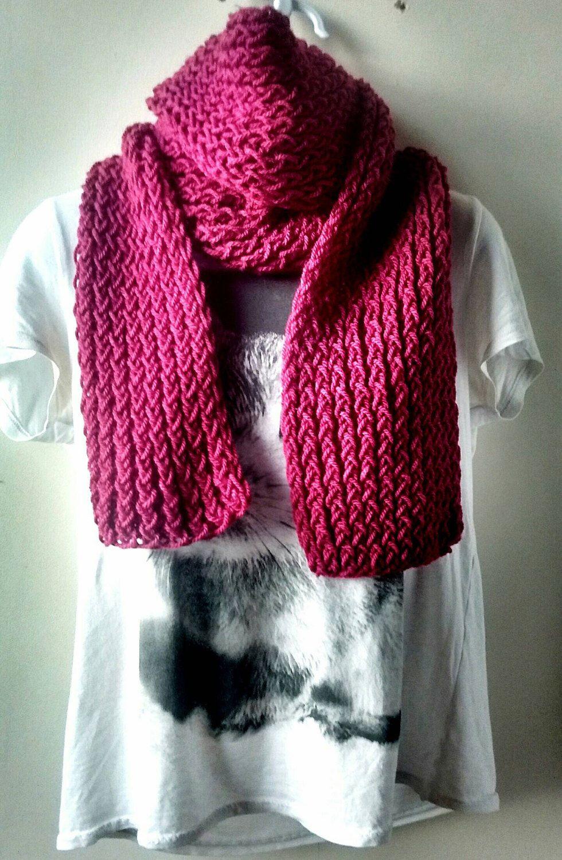 pink hipster scarf magenta knit scarf aran knit scarf knit