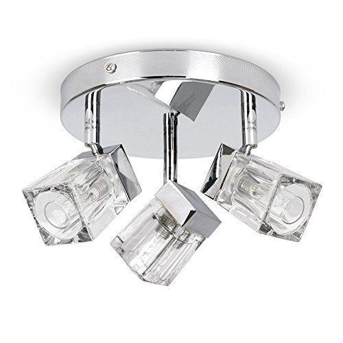 Modern Chrome Ice Cube 3 Way Ip44 Bathroom Ceiling Light Spotlight Bathroom Ceiling Light Bathroom Ceiling Ceiling Lights