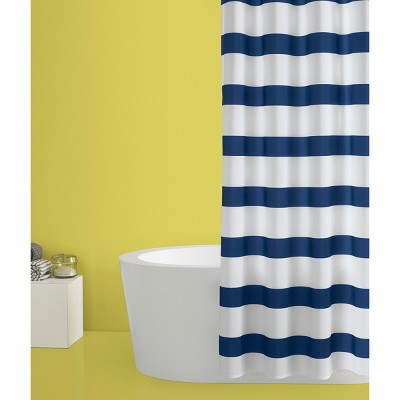 Rugby Stripe Shower Curtain White Blue Cool