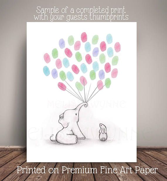 Elephant And Bunny Baby Shower Guestbook Alternative For Diys And