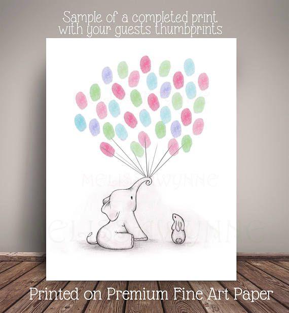 Elephant Baby Shower GuestBook Alternative for Elephant Nursery ...