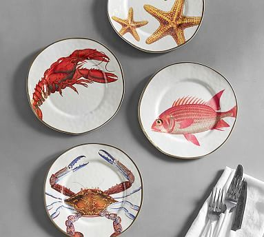 Playa Ocean Critter Melamine Salad Plates Mixed Set Of 4