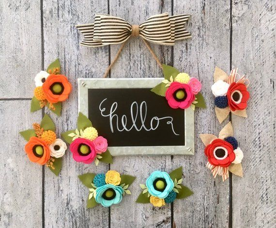 Chalkboard Sign With Galvanized Metal Edge Hello Or Welcome Sign Set Of Two Felt Flowers Magn Felt Flowers Flower Magnets Flower Decorations