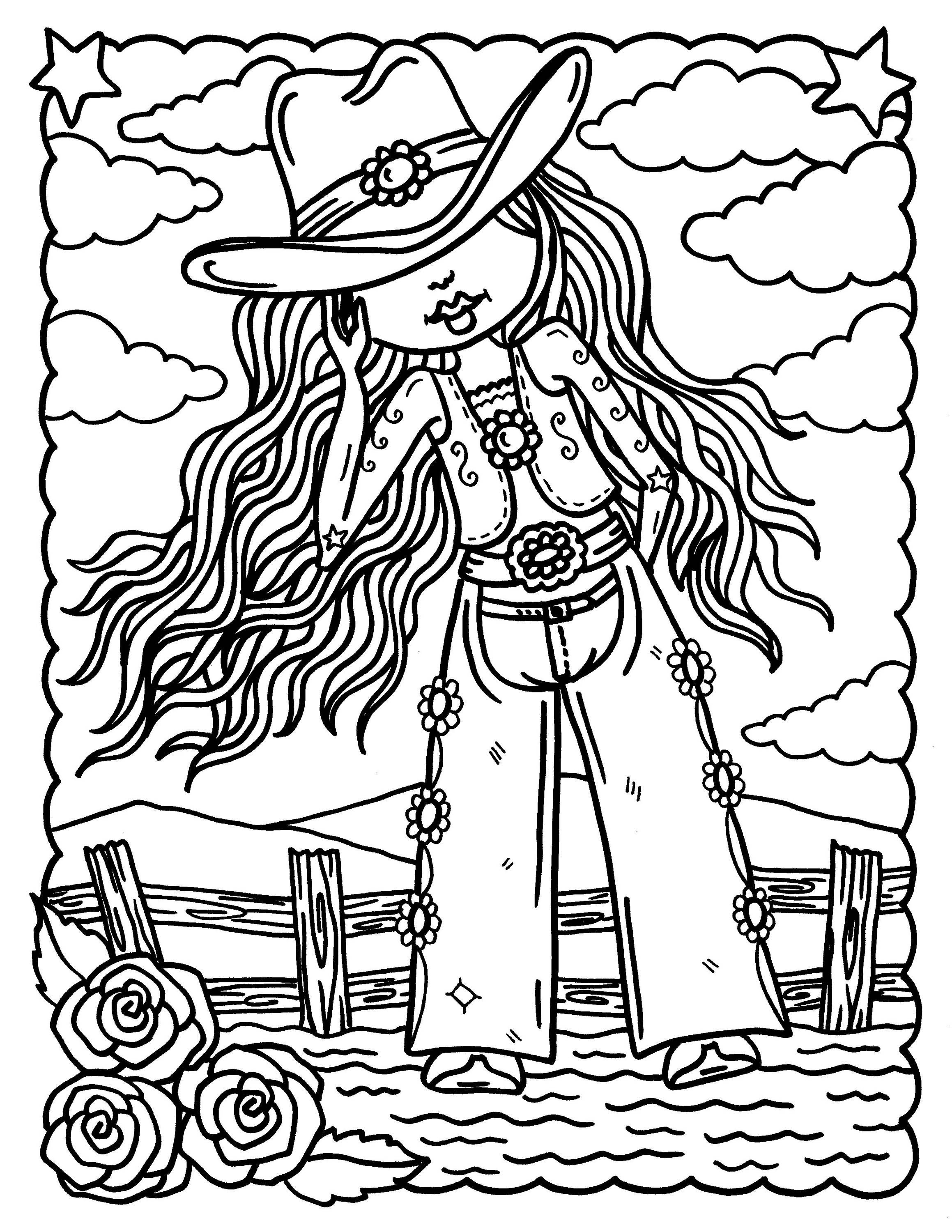 Digital Coloring Book Downloadable Cowgirls And Indians