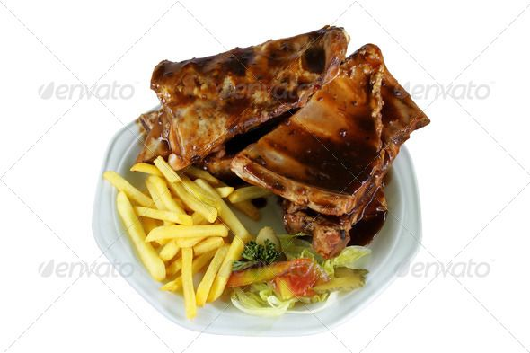 Spareribs and Fries on White Plate ...  background, barbecue, brown, chips, cucumber, cuisine, decorating, decoration, delicious, diet, dietary, dinner, dish, eat, fast, food, fresh, fries, garnish, gourmet, grill, grilled, isolated, isolation, lettuce, lunch, meal, meat, on white, parsley, pieces, plate, pork, rack, racks, restaurant, ribs, salad, sliced, slices, souse, spare, spareribs, take away, takeaway, tasty, white