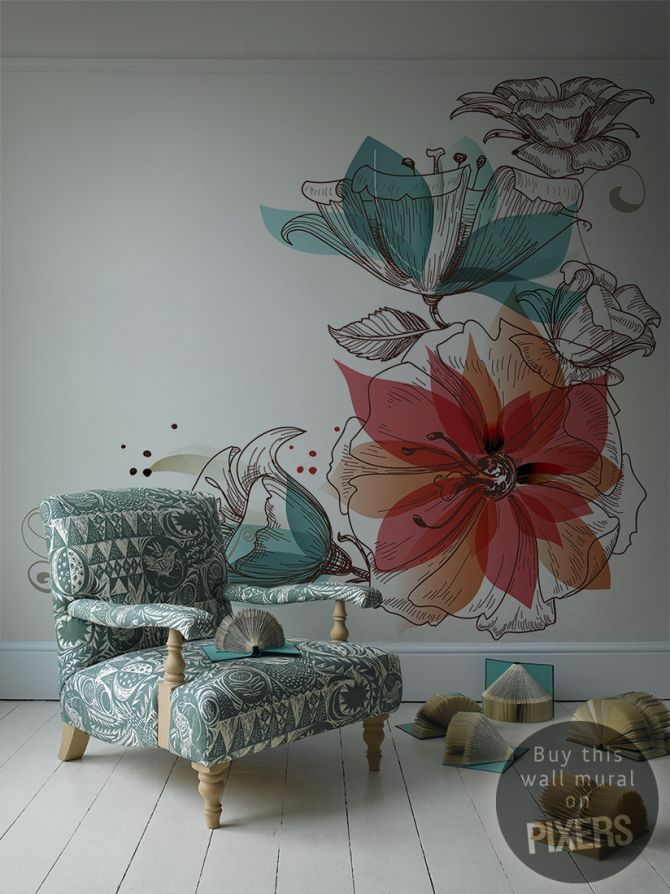 Flowers retro living room pixers we live to for Mural flower