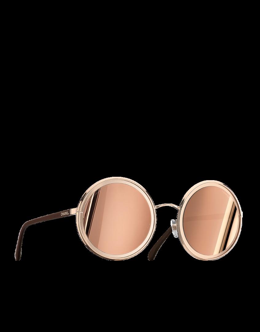 8b453f048c6fb Óculos de sol redondo, metal - lentes banhadas com ouro 18 quilates-rosa  dourado - CHANEL