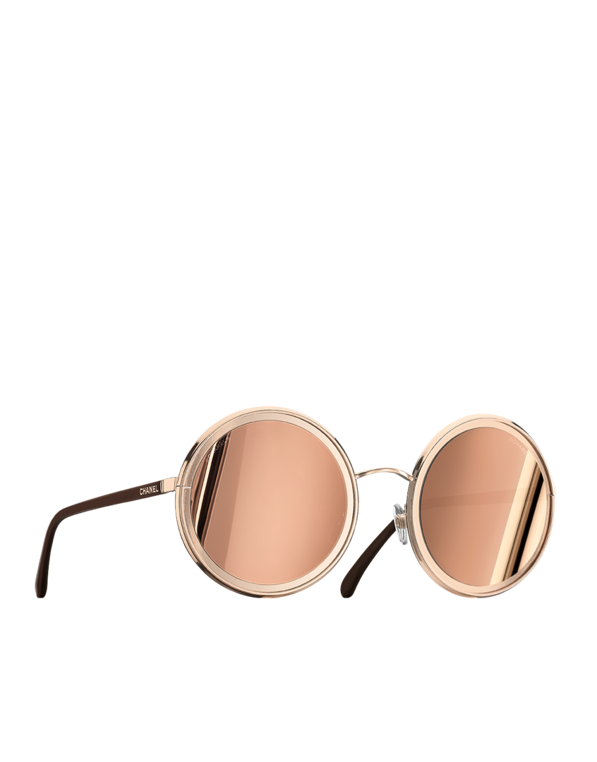 Óculos de sol redondo, metal - lentes banhadas com ouro 18 quilates-rosa  dourado - CHANEL 42b193aa09
