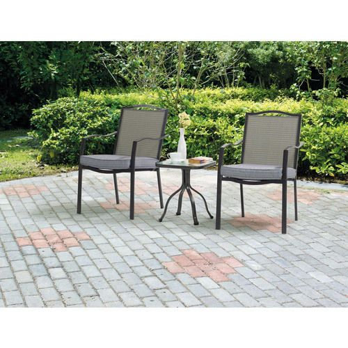 3 piece bistro set patio small garden cushioned outdoor metal furniture seats 2 patiofurniture