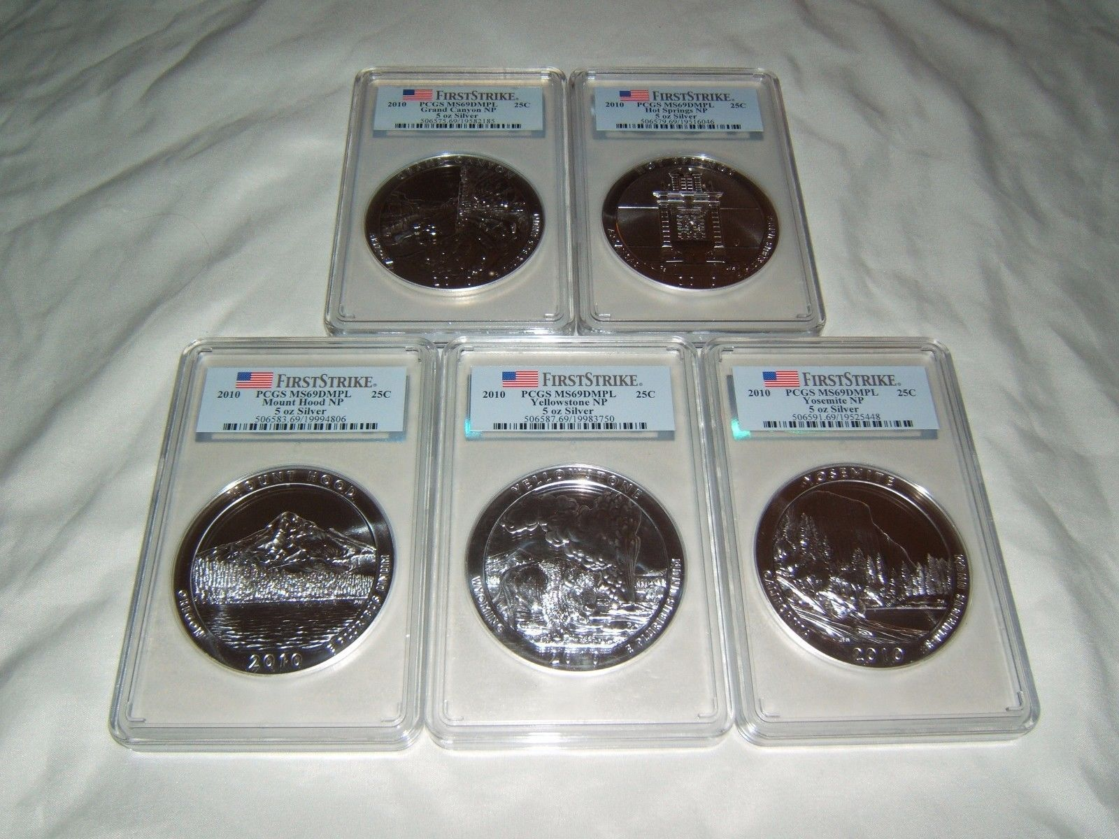 #New post #2010 ATB 5oz silver quarter set PCGS MS69 DMPL First Strike  http://i.ebayimg.com/images/g/qA8AAOSwCU1Yn9Qg/s-l1600.jpg      Item specifics    									 			Coin:   												America the Beautiful  									 			Grade:   												MS69 DMPL    									 			Precious Metal Content:   												5 oz  									 			Year:   												2010    									 			Certification:   												PCGS   							 							  2010... https://www.shopnet.one/2010-atb-5oz-silver-quarter