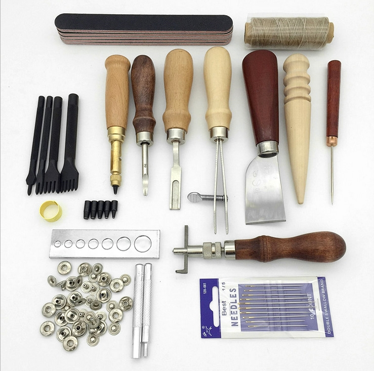 61.20$  Watch here - http://alihsf.worldwells.pw/go.php?t=32678935933 - 19Pcs Leather Tools Craft Punch Kit Stitching Carving Working Sewing Saddle Groover DIY Drilling Grinding Needle Buckle Tool 61.20$