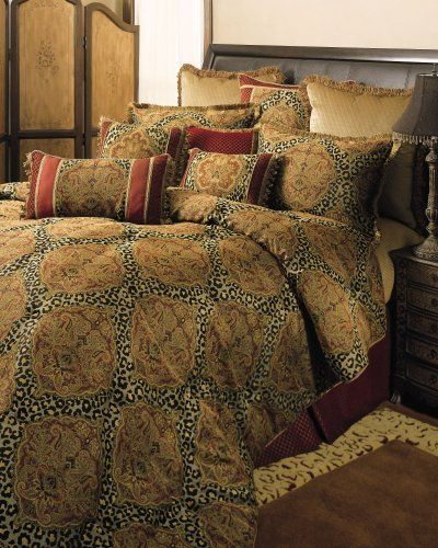 Sherry Kline Tangiers 4-pc Queen Comforter Set by Sherry Kline Bedding. $289.99. Comforter Set features a dramatic mix of damask and leopard spots. It includes oversized comforter, tailored beskirt, 2 shams.. 100% Polyester. Update your bedroom with a new elegant and stylish comforter set.. Loose yourself in this dramatic medallion, trimmed with animal spin. It adds strength and a modern twist to the opulence of this design. 1pc. Comforter 92x96, 2 pcs.- 20x26 Standard Sha...