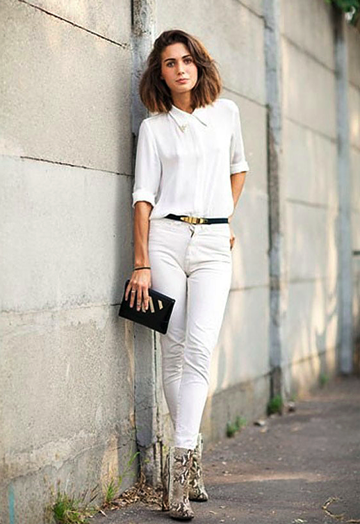 Western white button-down shirt, white jeans & snakeskin boots ...