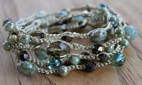 really pretty crochet wrap bracelet
