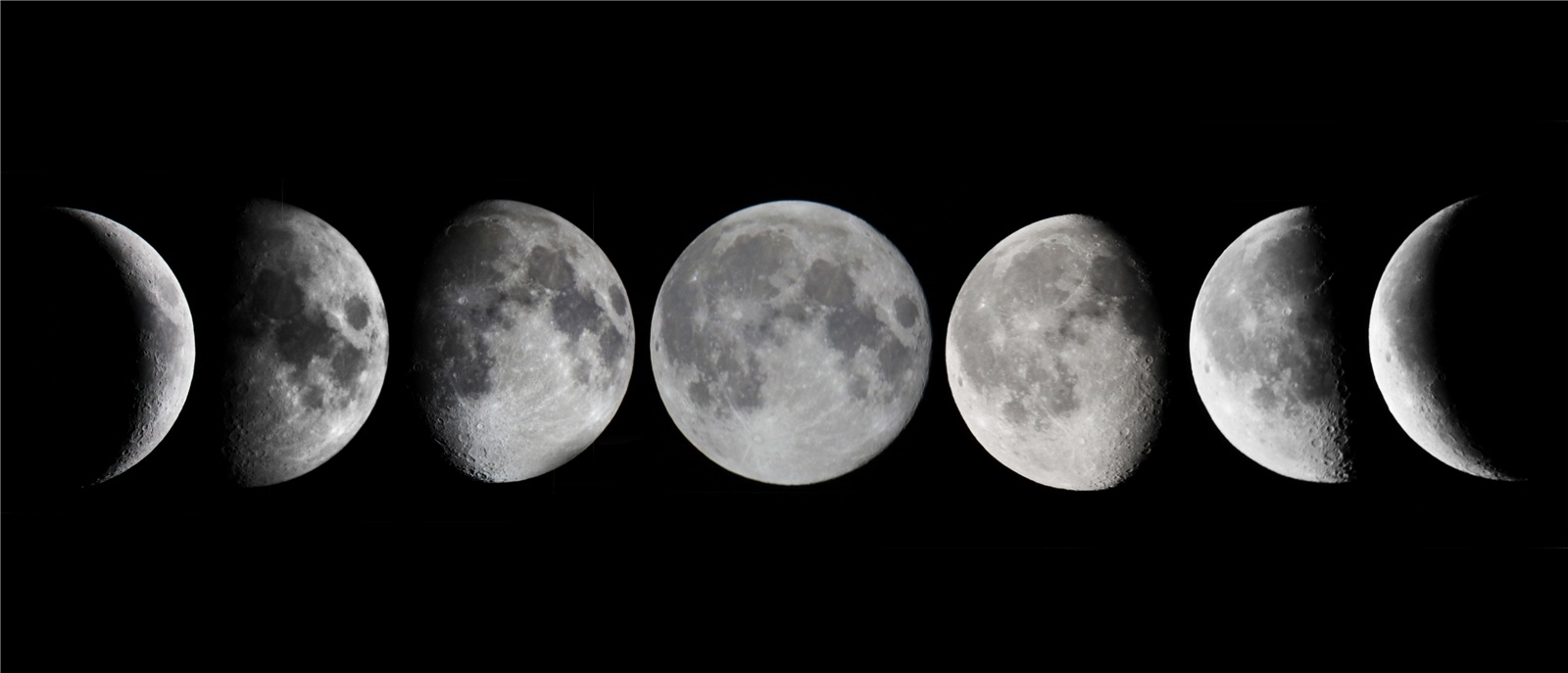 The 7 Basic Phases Of The Moon From Left To Right Waxing Crescent First Quarter Waxing Gibbous Full Moon Moon Tattoo Moon Cycle Tattoo Moon Phases Tattoo