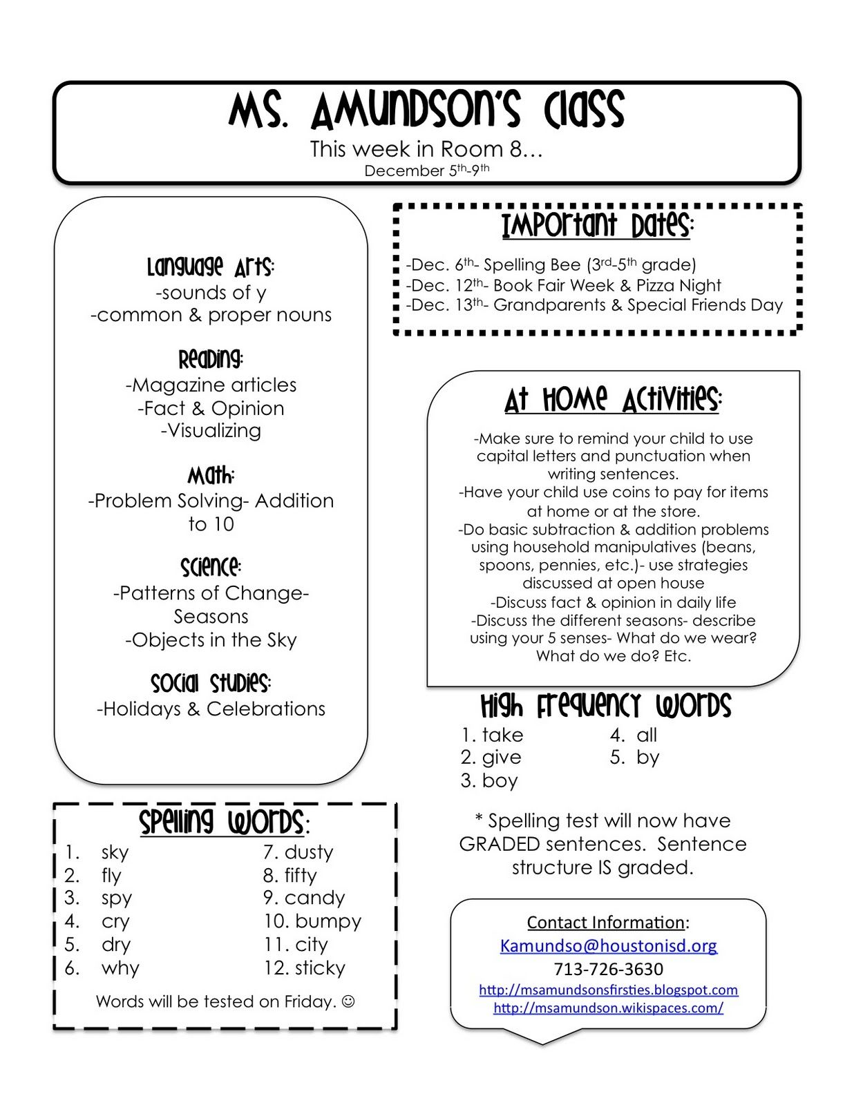 weekly newsletter templates for teachers first grade pinterest