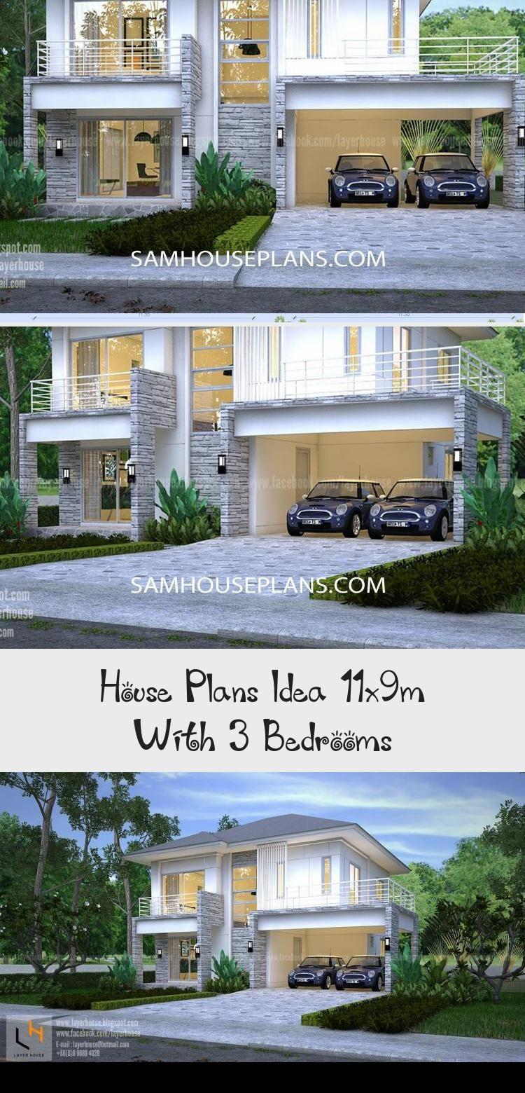 House Plans Idea 11x9m With 3 Bedrooms Sam House Plans Modernhouseplansminimalist Lshapedmodernhousepl In 2020 House Plans Australia Modern House Plans House Plans