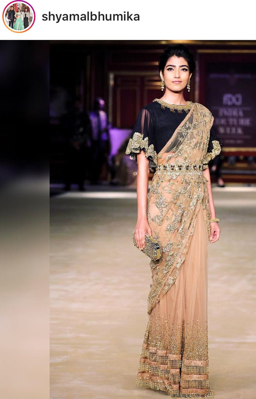Saree for fashion show shyamal u bhumika  flared sleeves  pinterest  saree blouse