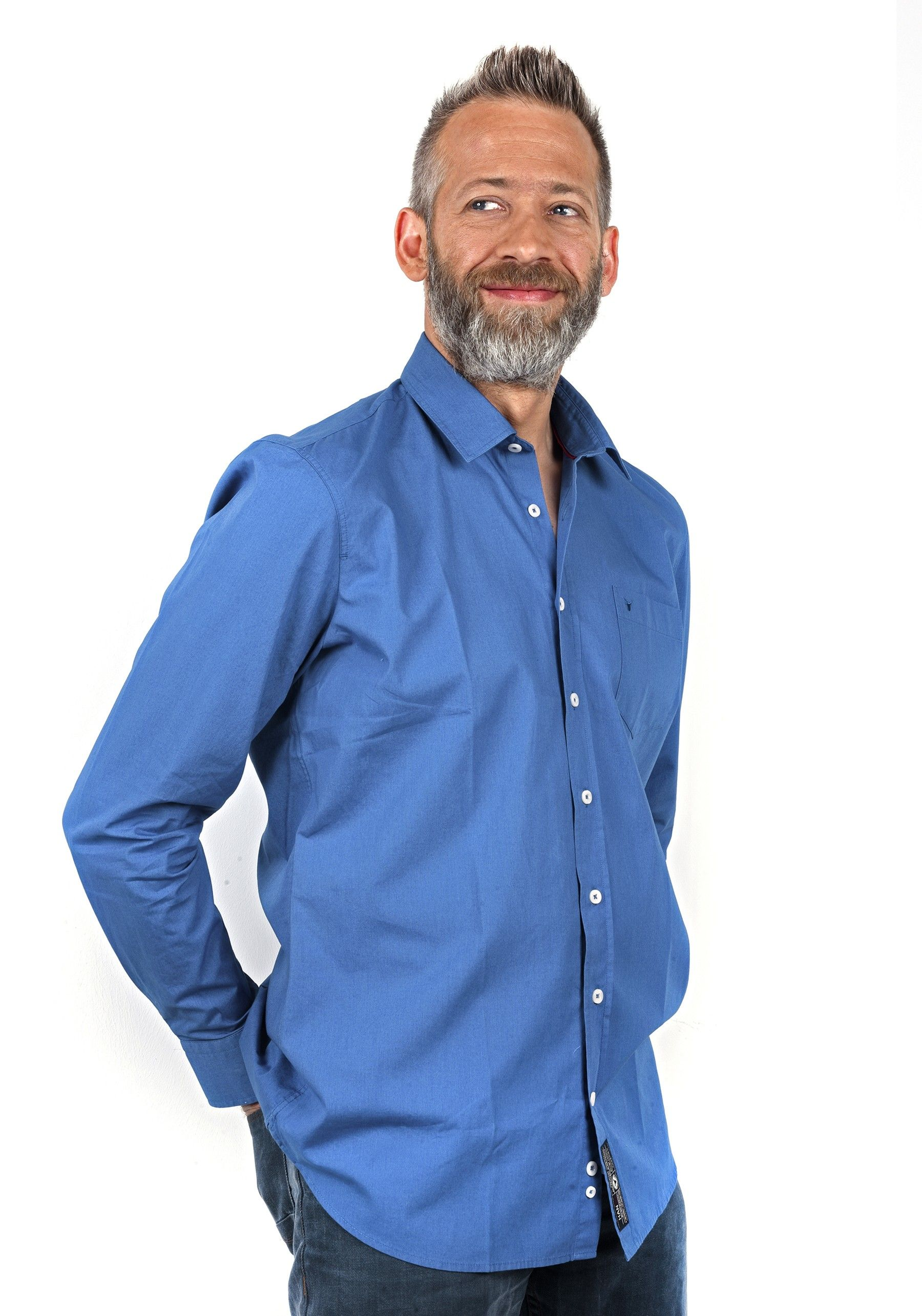Chemise Style Homme Coton Uni Mode 100 Popeline Bleu Royal TBrqpT