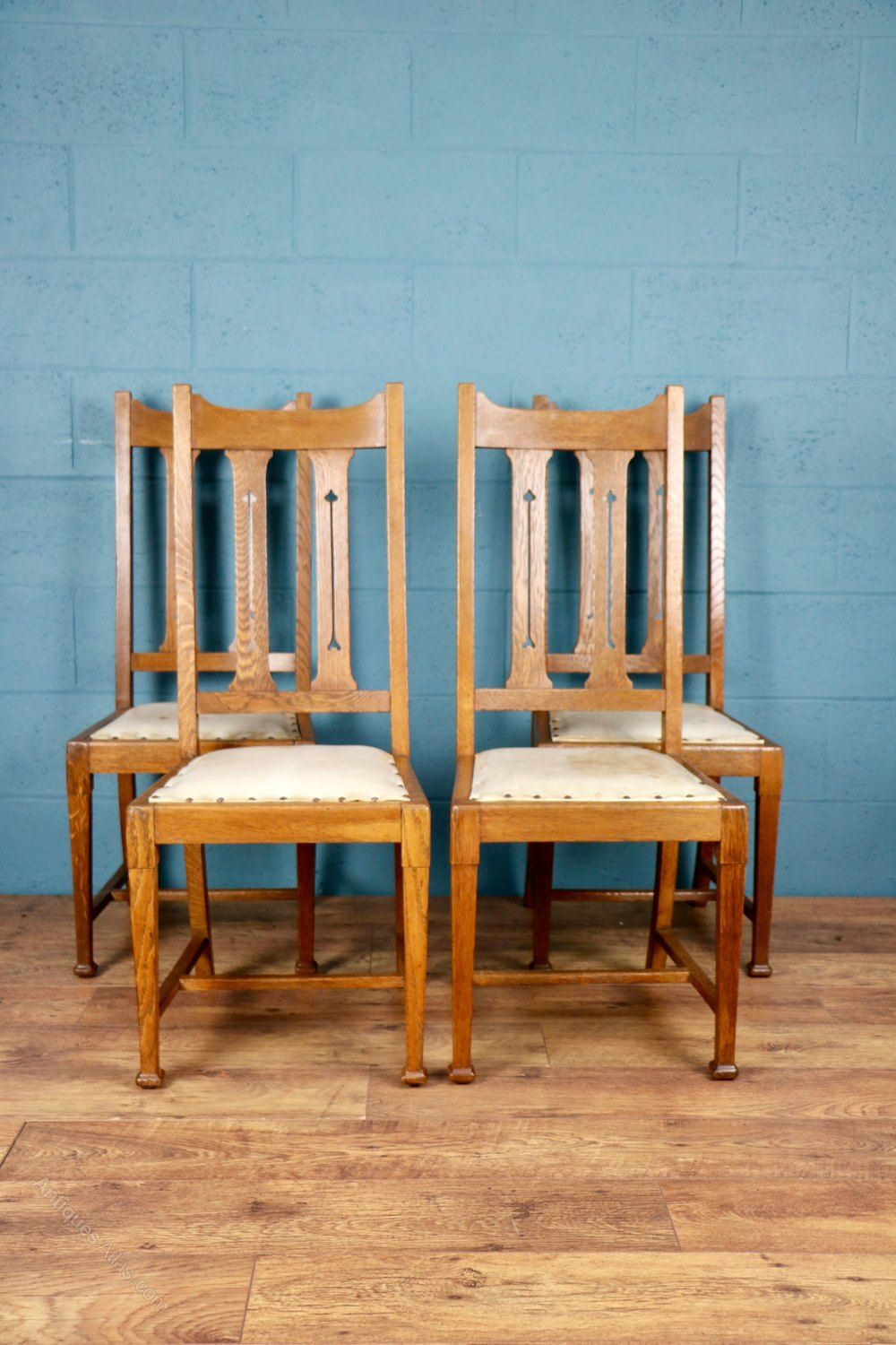 4 X Arts And Crafts Oak Dining Chairs Antiques Atlas Arts And