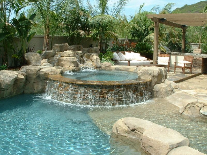 Diablo Quartzite Stacked Spa Spill Wall And Artificial Rock Waterfalls Beach Entry And Baja
