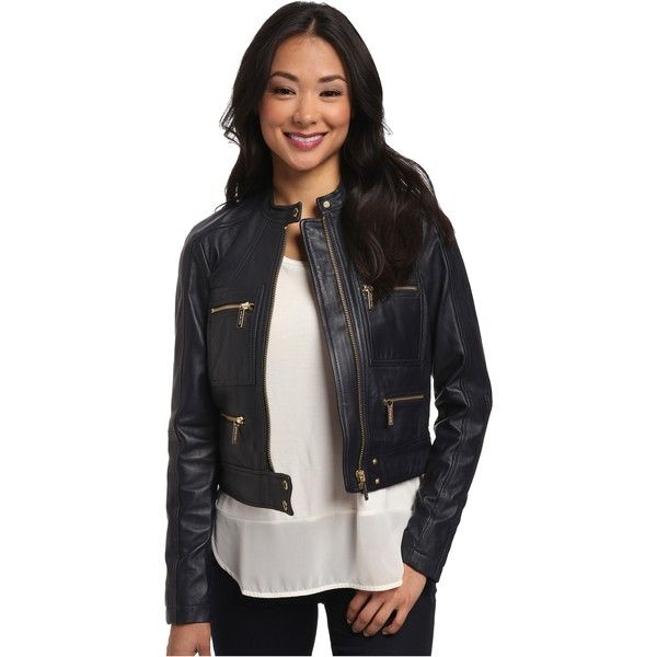 MICHAEL Michael Kors Zip Detailed Leather Jacket Women's Coat, Navy ($303) ❤ liked on Polyvore featuring outerwear, jackets, navy, cropped leather jacket, navy sports jacket, genuine leather jacket, zip front jacket and navy blue jacket
