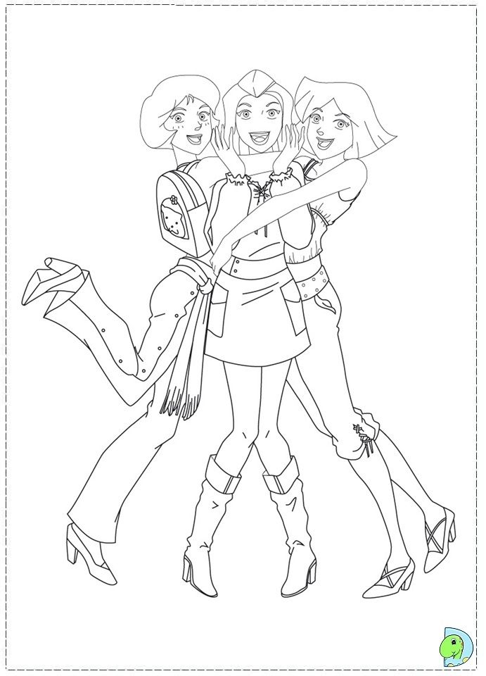 Totally Spies Coloring Page Dinokids Org Colorir Espias Tres
