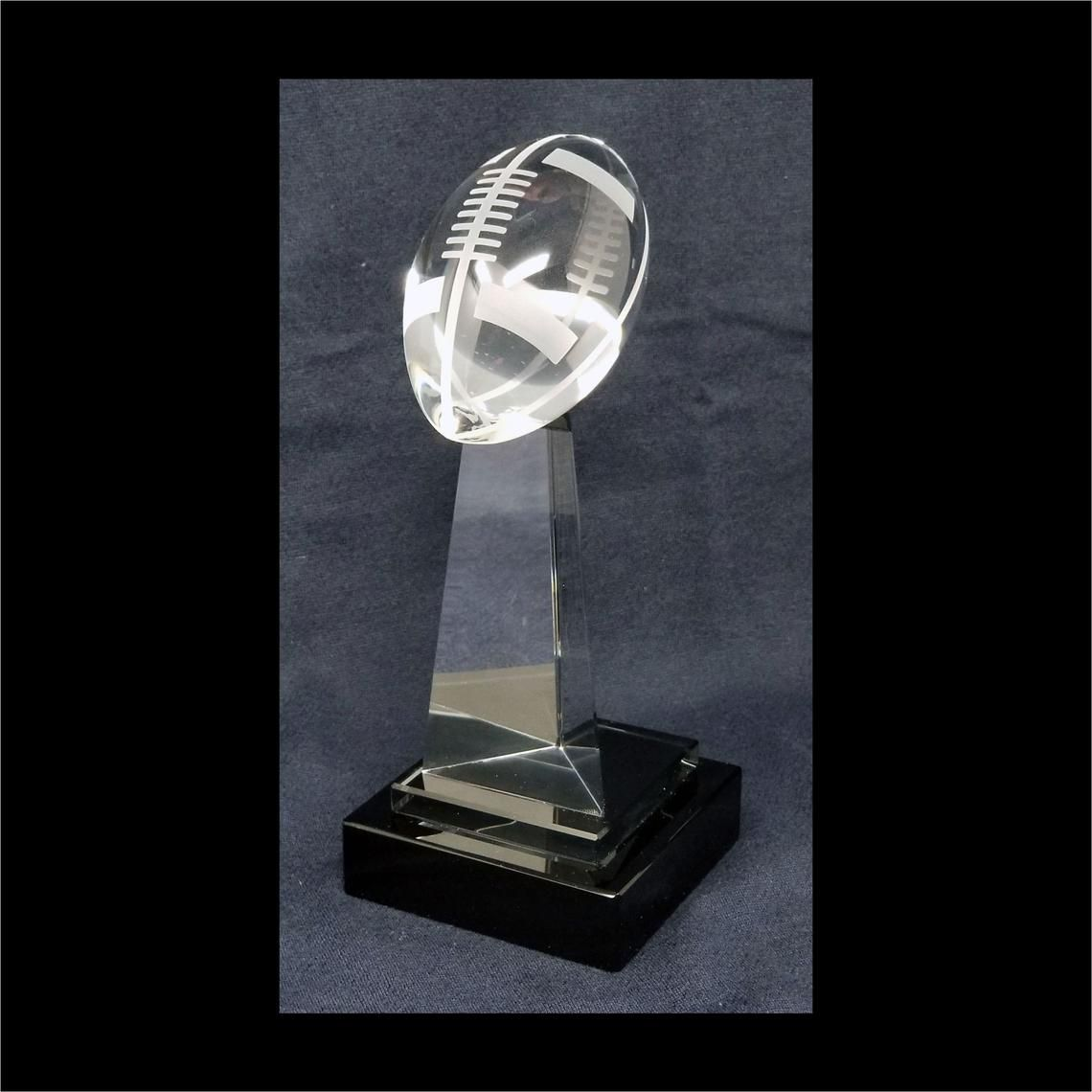 Fantasy football crystal trophy crystal football tower