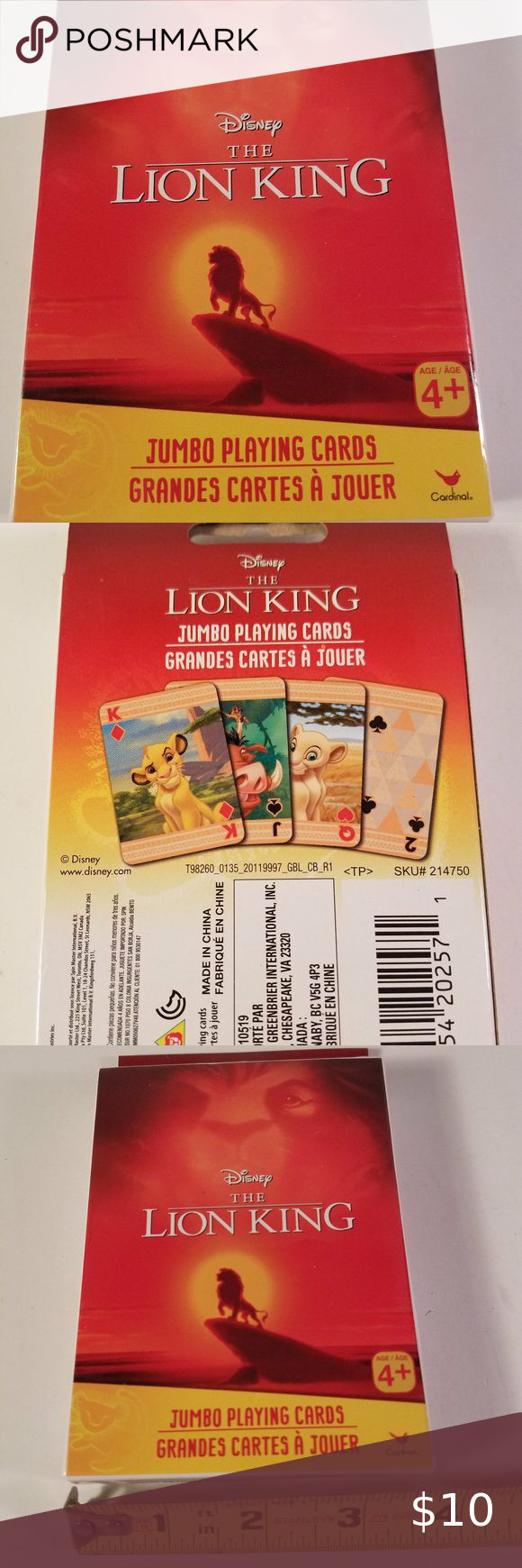 New Disney Lion King Playing Cards