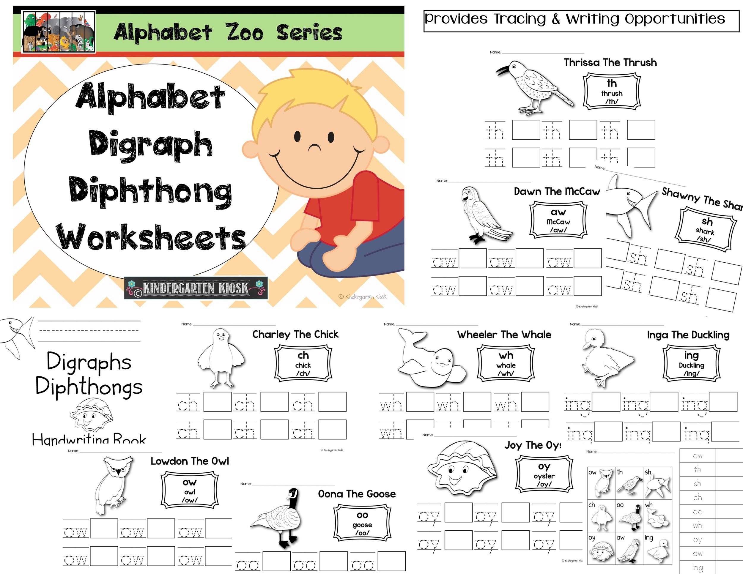 Worksheets Diphthong Worksheets alphabet zoo digraphdiphthong handwriting worksheets worksheets