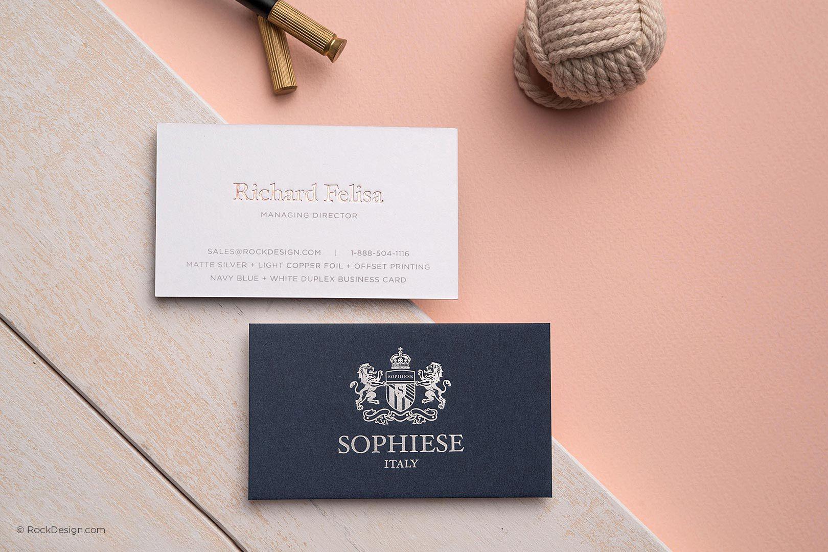 Fancy custom navy blue and white duplex business card with foil fancy custom navy blue and white duplex business card with foil stamping sophiese rockdesign colourmoves Gallery