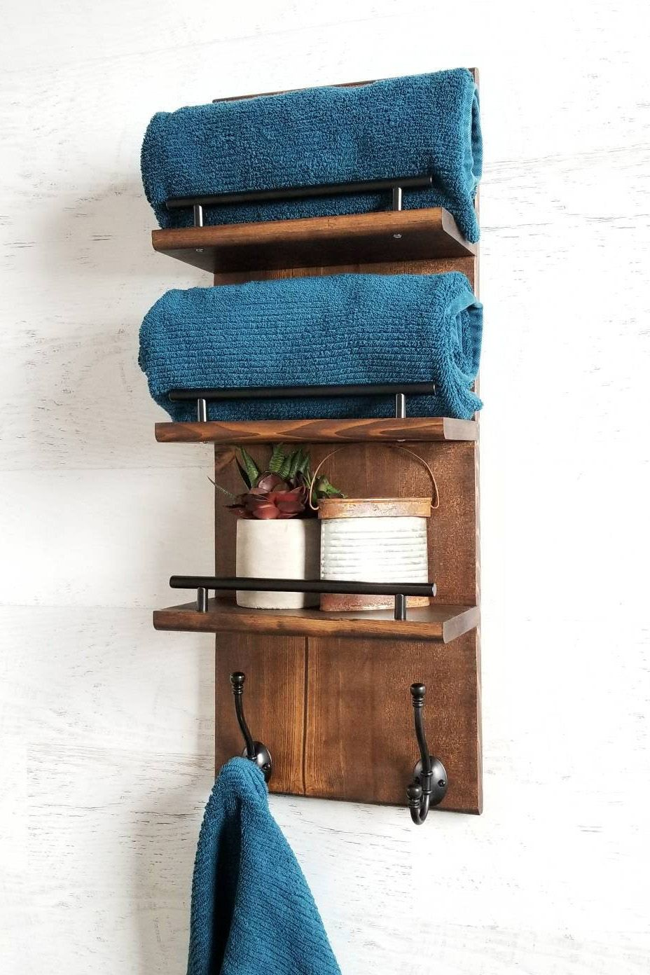 3 Tier Bathroom Floating Shelf Organizer Bath Towel Rack
