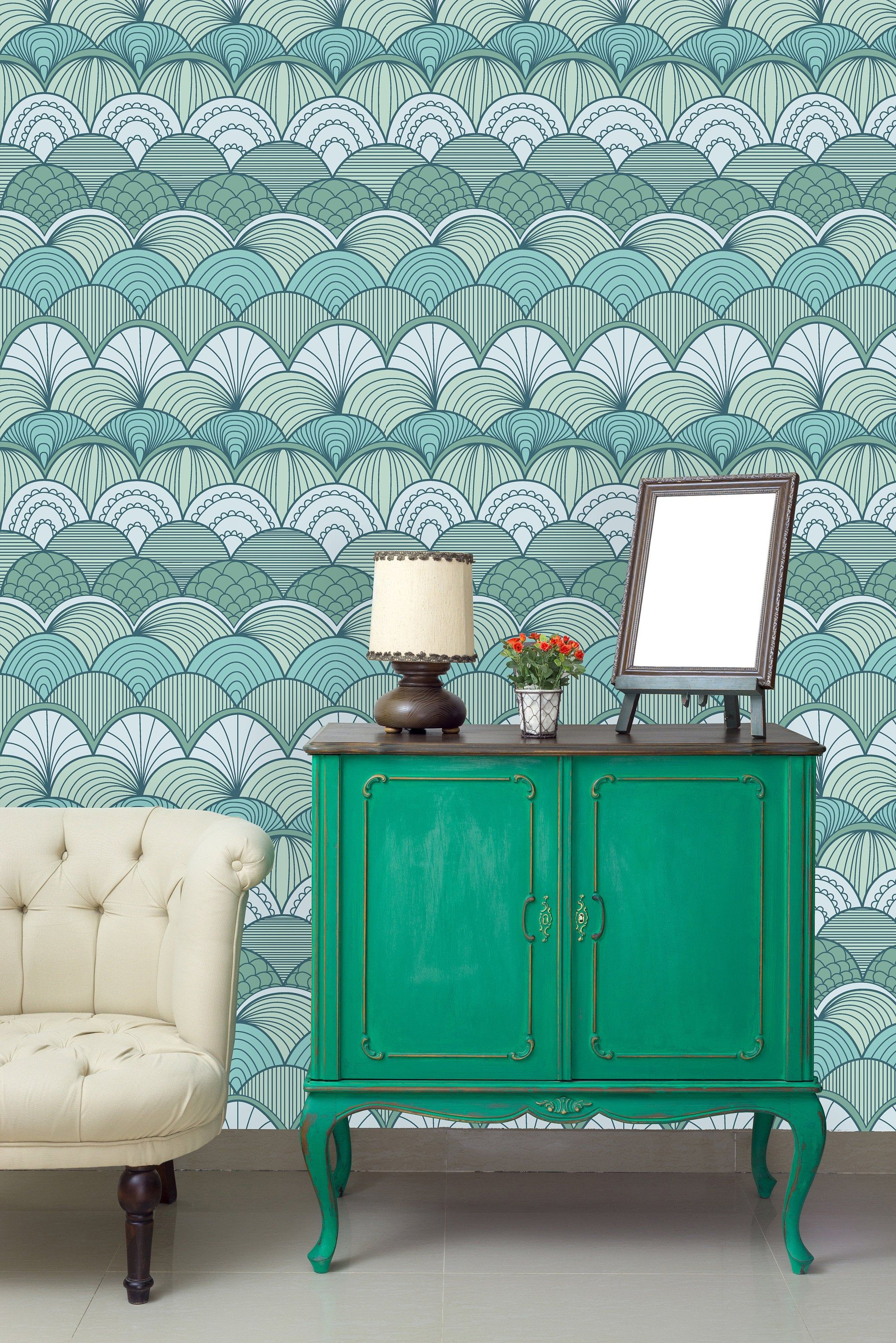 Green Scallops Removable Wallpaper Peel And Stick Etsy Wall Murals Home Decor Wall Wallpaper