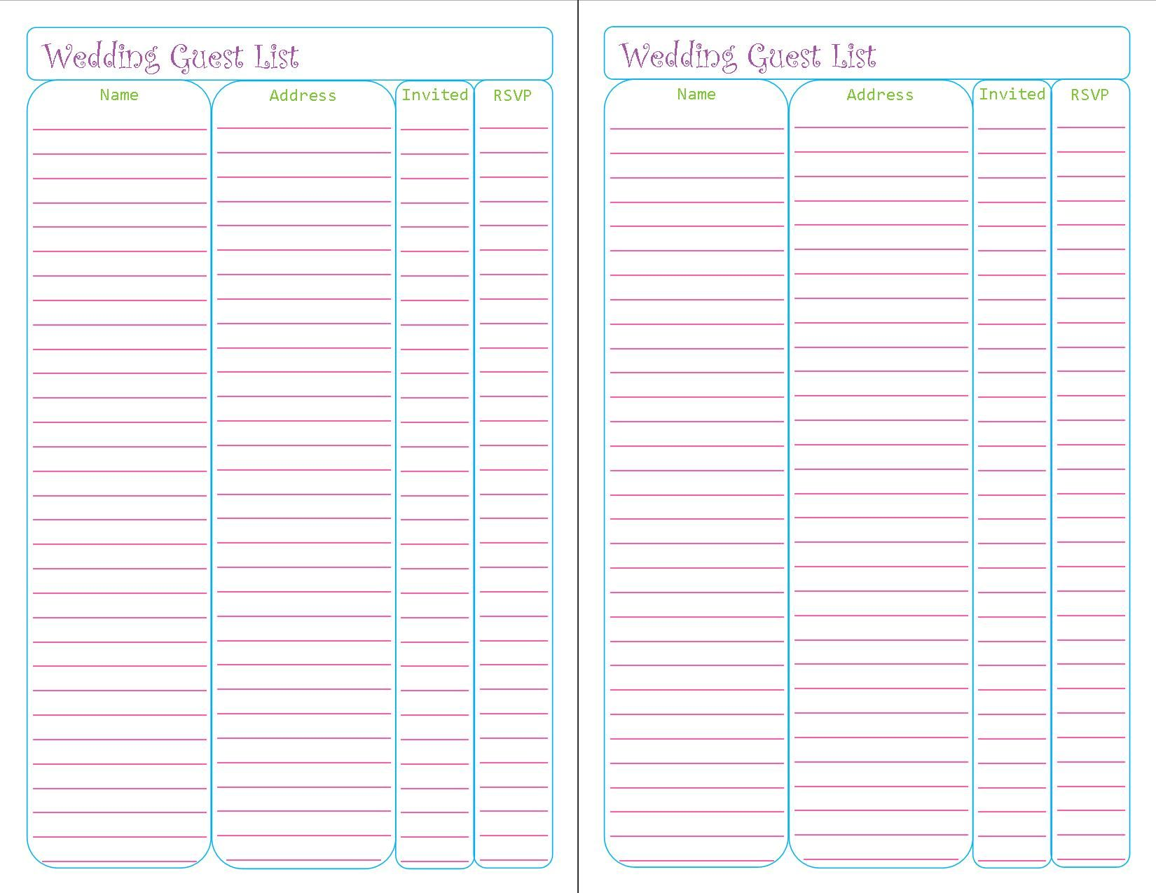Free Printable Wedding Guest List Tracker