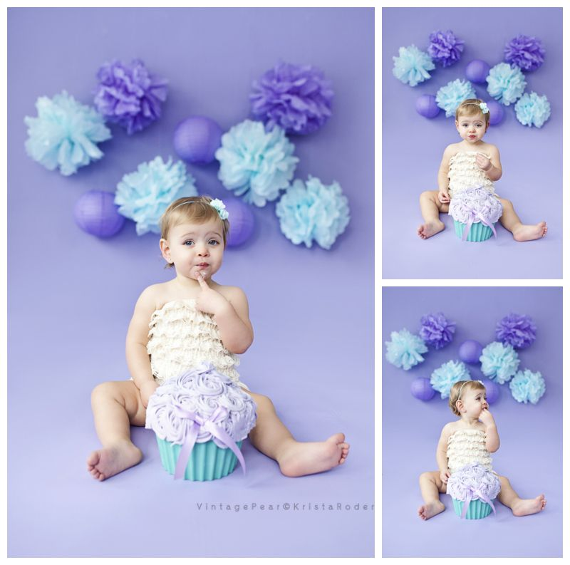 Purple Blue And Pink Smash Cake Session