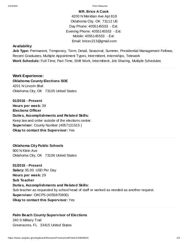 Resume Types Resume Example Usa Jobs Usajobs Sample Builder Free Format  Home