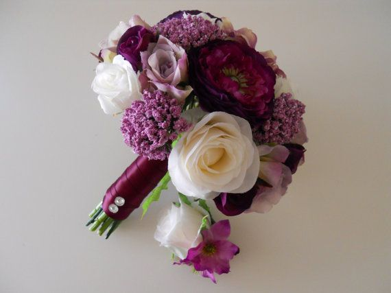 This Gorgeous Assorted Shades Of Purple Sangria Lavender And Ivory Bridal Bouquet Is A